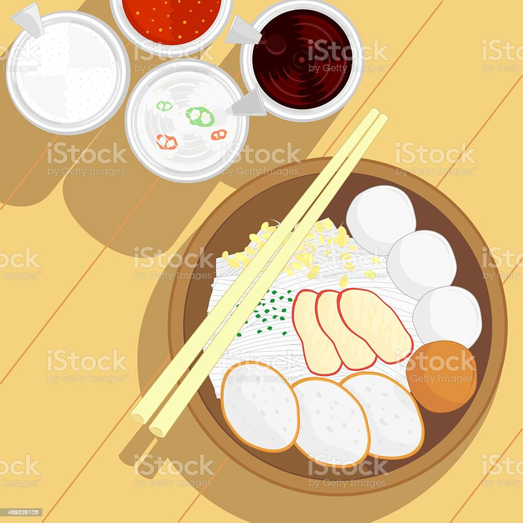 thai style fish ball noodle without soup vector art illustration