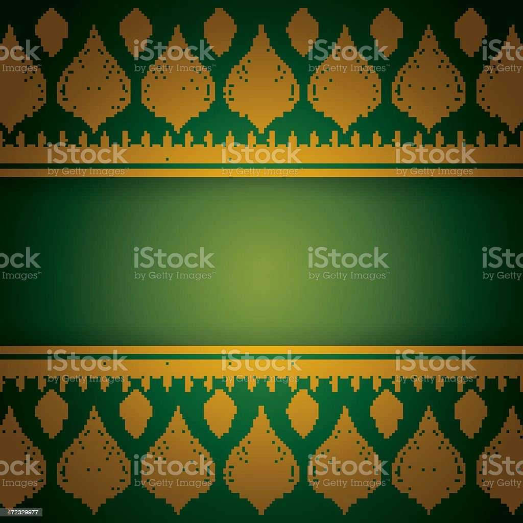 Thai style print green and gold blank card royalty-free stock vector art