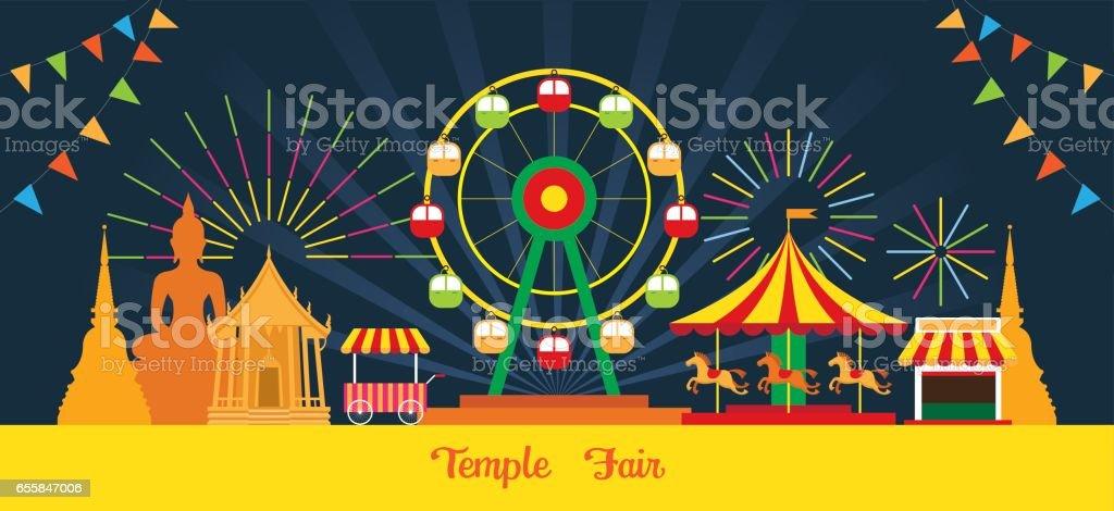 Thai-Tempel-Fair, Nacht-Szene – Vektorgrafik