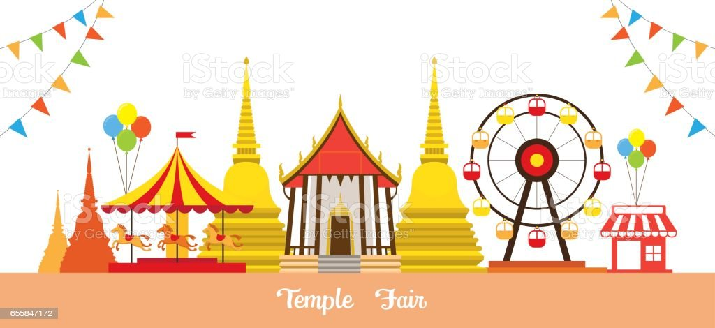Thai Temple Fair Stock Illustration - Download Image Now - iStock