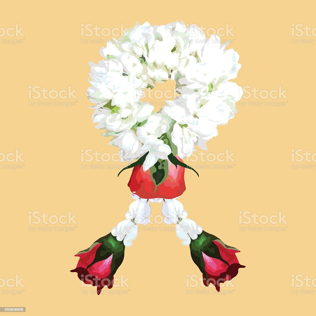 Thai Traditional Jasmine Flower Garland Illustration Isolated Vector