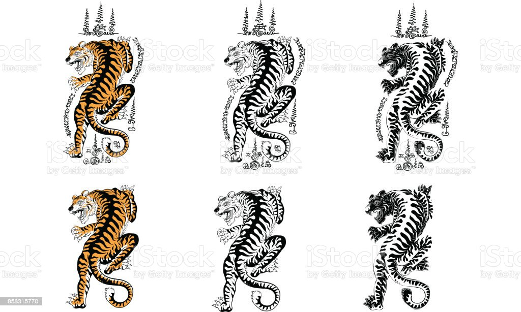 thai traditional tattoo vector art illustration