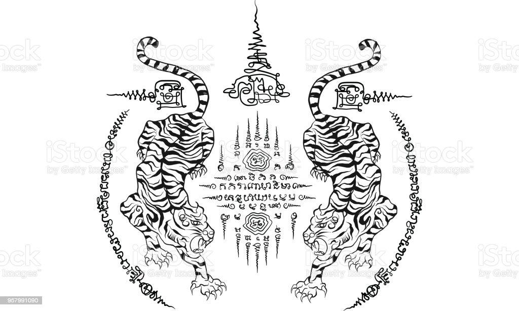 Thai Traditional Tattoo Stock Illustration Download Image