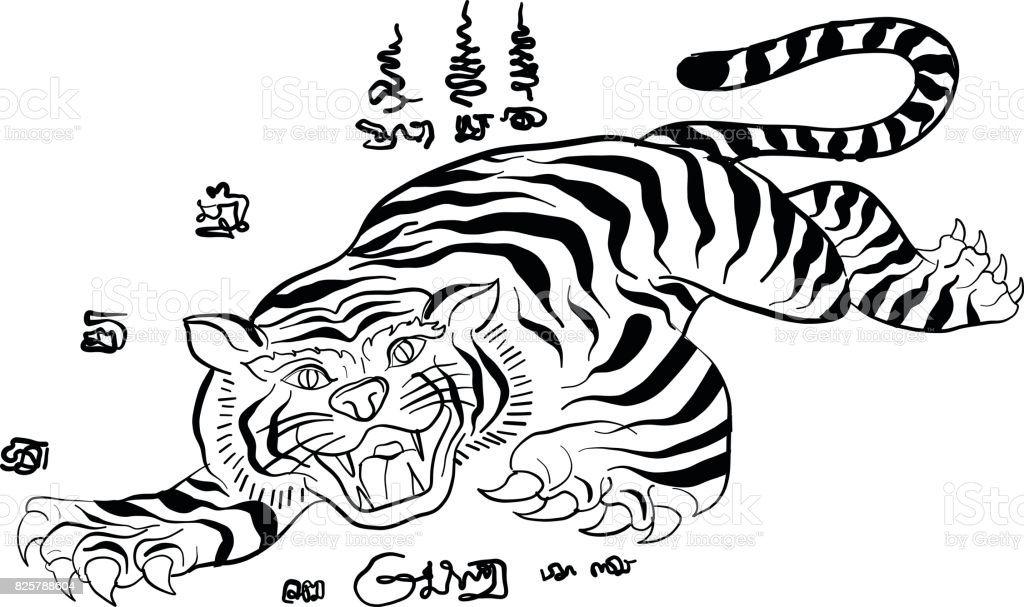 1abf51aa6 thai traditional tattoo,tiger royalty-free thai traditional tattootiger  stock vector art &