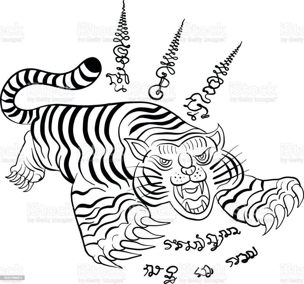 Thaise Traditionele Tattoo Tijger Stockvectorkunst En Meer