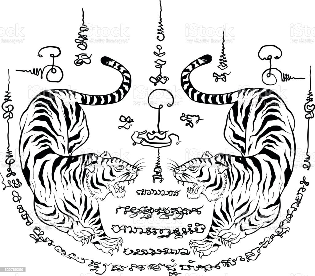 thai traditional tattootiger stock vector art more images of design 825789066 istock. Black Bedroom Furniture Sets. Home Design Ideas