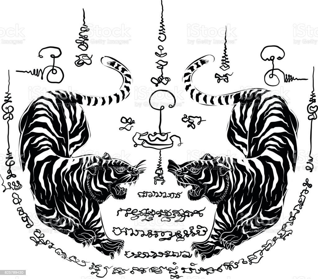 Bocetos De Tatuajes Tradicionales ilustración de tatuaje tradicional tailandés tigre y más