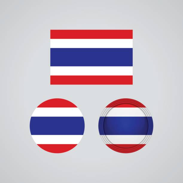 thai trio flags, vector illustration - thai flag stock illustrations, clip art, cartoons, & icons