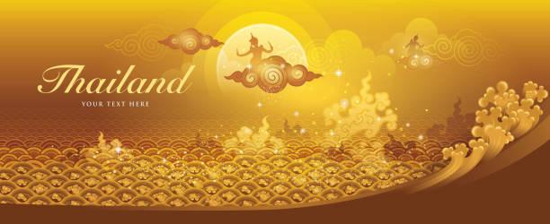 stockillustraties, clipart, cartoons en iconen met thaise water gold vector, amazing thailand - thaise munt