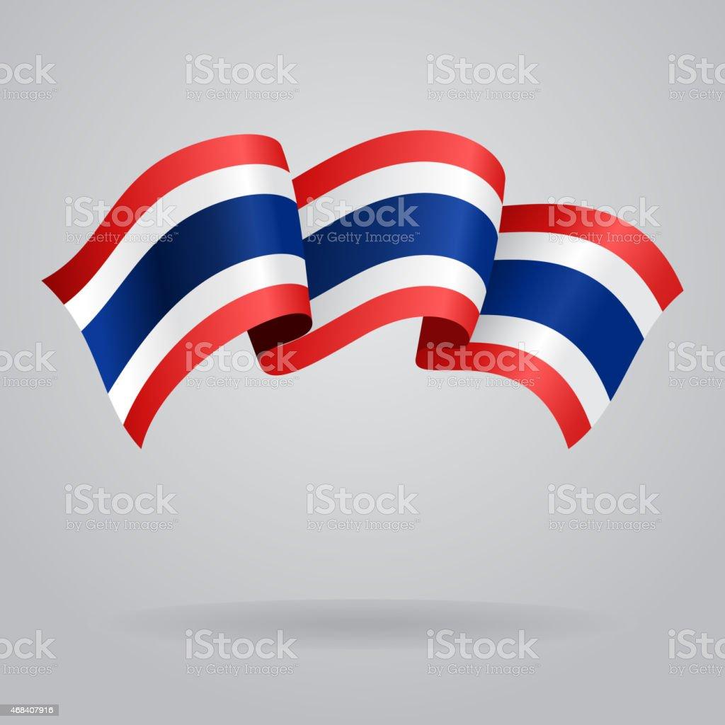 タイ旗を振っています。ベクトルイラストレーション ベクターアートイラスト