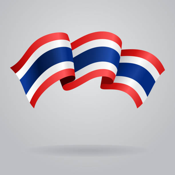 thai waving flag. vector illustration - thai flag stock illustrations, clip art, cartoons, & icons
