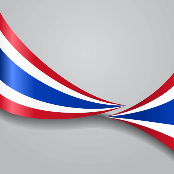 thai wavy flag. vector illustration. - thai flag stock illustrations, clip art, cartoons, & icons