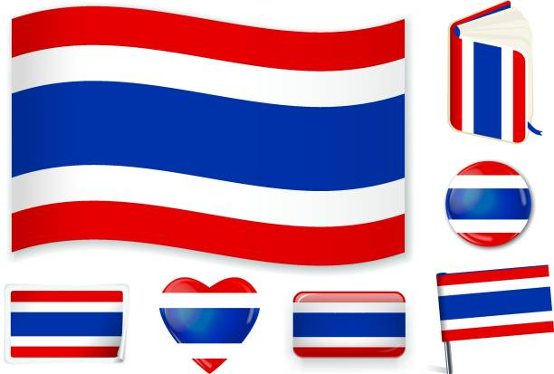 thai_flag - thai flag stock illustrations, clip art, cartoons, & icons