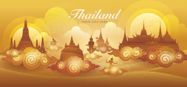 stockillustraties, clipart, cartoons en iconen met amazing thailand gouden vector, thaise kunst grafische vector - thaise munt