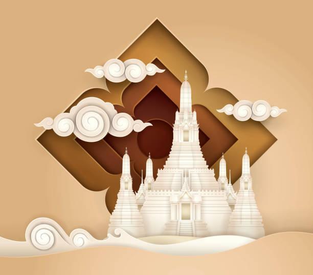 stockillustraties, clipart, cartoons en iconen met amazing thailand, thaise paradijs vector, wat arun tempel. - thailand