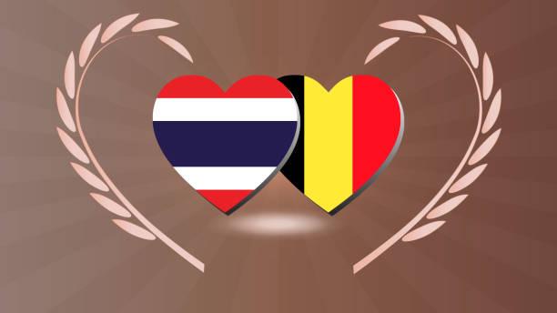 thailand und belgien beziehung mit herzflagge in luarel kranz - pattaya stock-grafiken, -clipart, -cartoons und -symbole