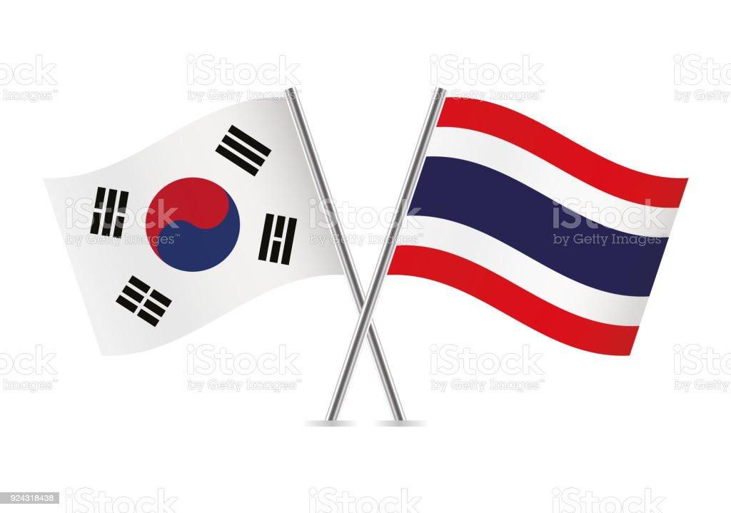 タイと韓国のフラグです。ベクトルの図。 ベクターアートイラスト