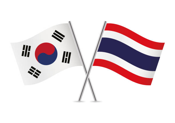 thailand and south korea flags. vector illustration. - thai flag stock illustrations, clip art, cartoons, & icons
