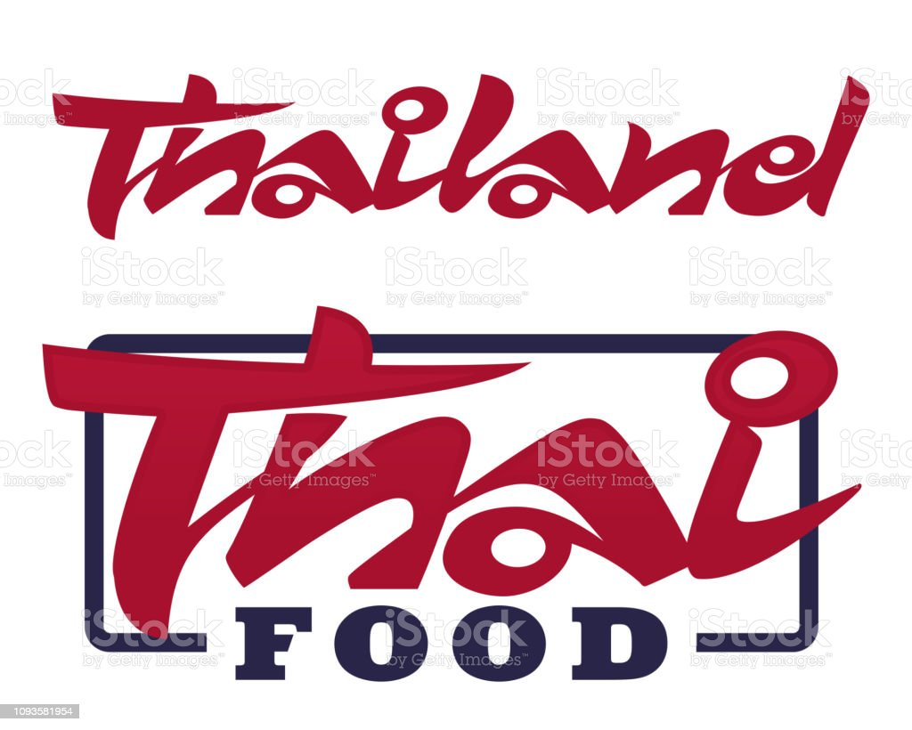 Thailand and Thai Food lettering vector art illustration