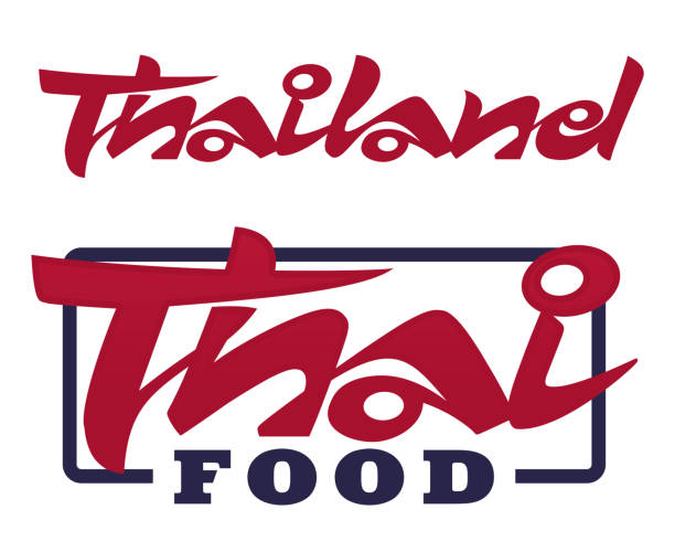 thailand and thai food lettering - thai food stock illustrations, clip art, cartoons, & icons