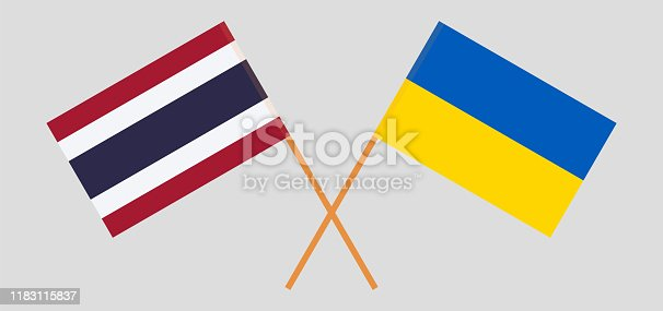 Thailand and Ukraine. Crossed Thai and Ukrainian flags. Official colors. Correct proportion. Vector illustration