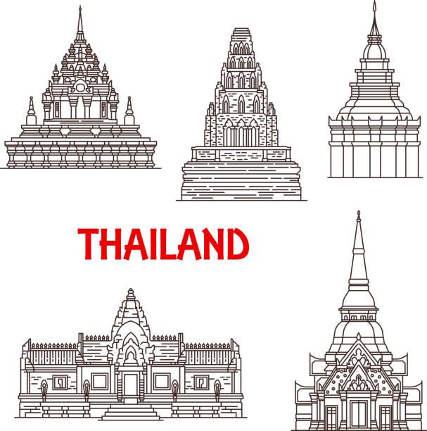 hua hin und thailand ayutthaya wahrzeichen symbole - ayutthaya stock-grafiken, -clipart, -cartoons und -symbole