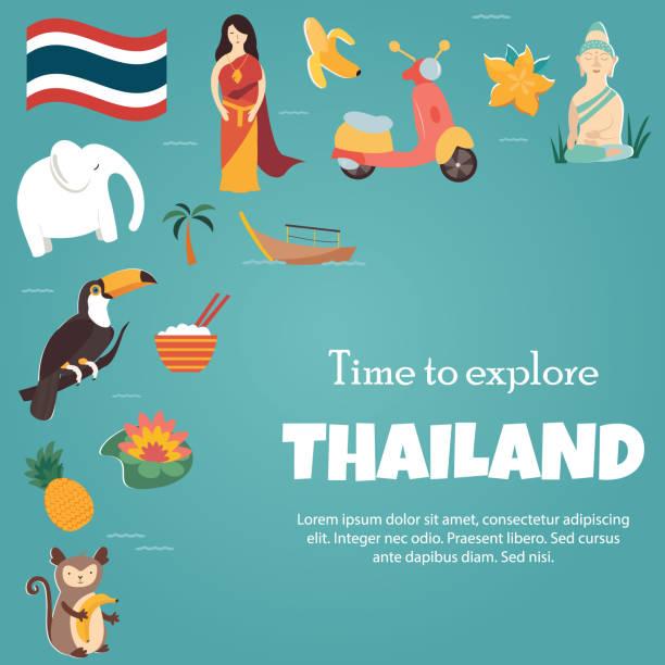 thailand helle poster mit sehenswürdigkeiten und symbole - pattaya stock-grafiken, -clipart, -cartoons und -symbole
