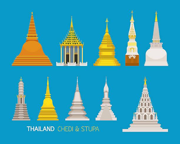 thailand buddhistische pagoden objekte festlegen - ayutthaya stock-grafiken, -clipart, -cartoons und -symbole