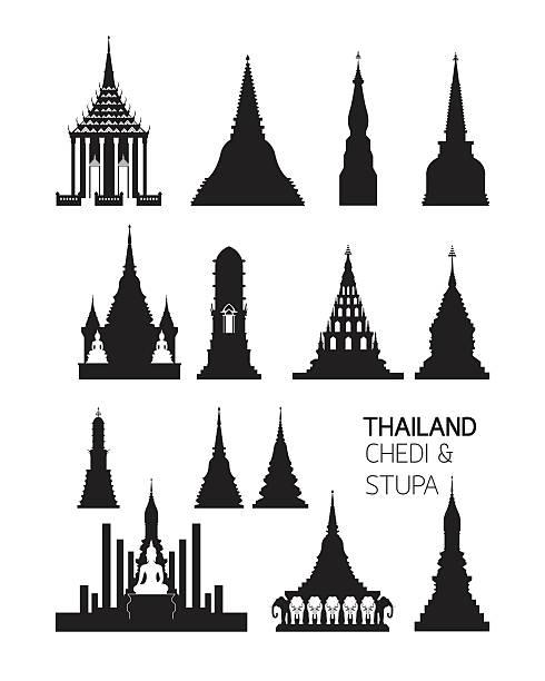 thailand buddhistische pagoden objekte, kontur satz - ayutthaya stock-grafiken, -clipart, -cartoons und -symbole