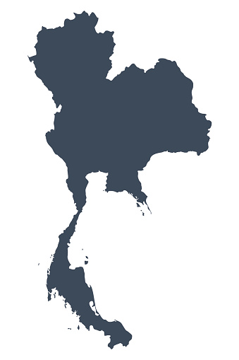 A graphic illustrated vector image showing the outline of the country Thailand. The outline of the country is filled with a dark navy blue colour and is on a plain white background. The border of the country is a detailed path.