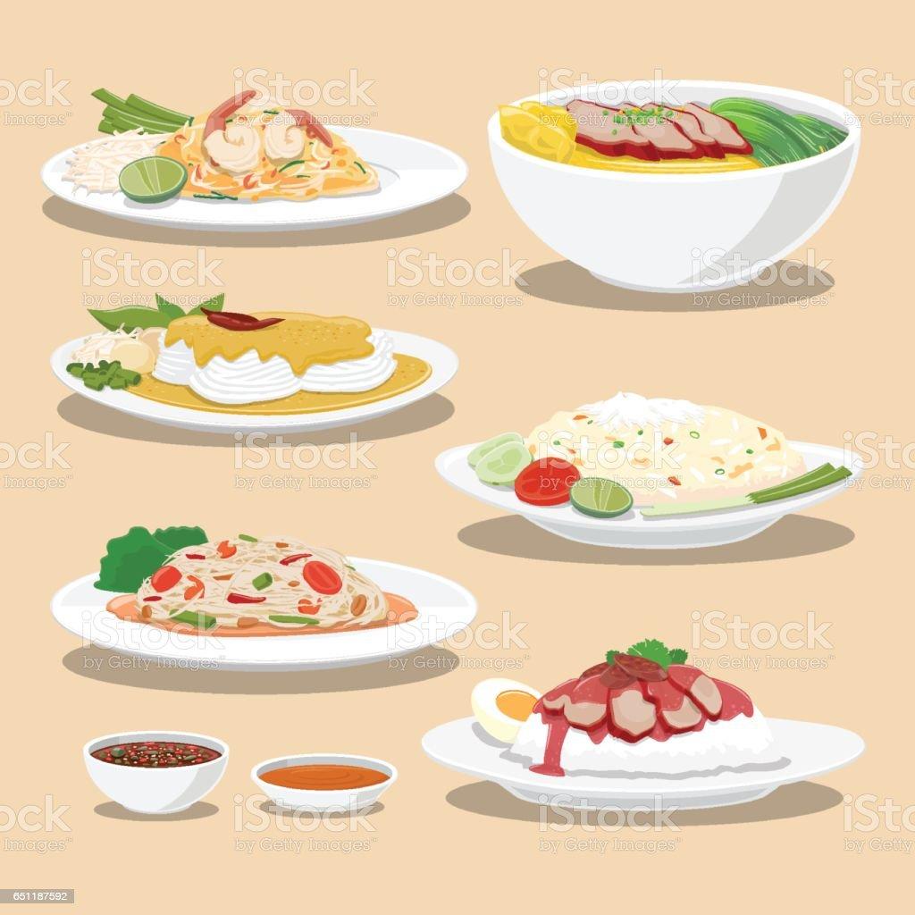 Tailandia cultura alimentos - ilustración de arte vectorial