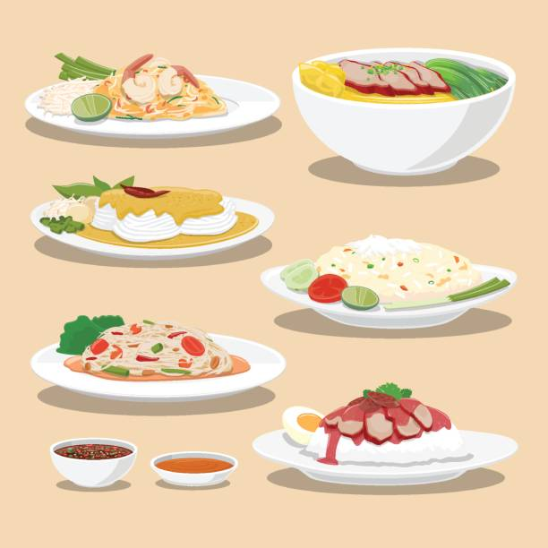 thailand culture foods - thai food stock illustrations, clip art, cartoons, & icons