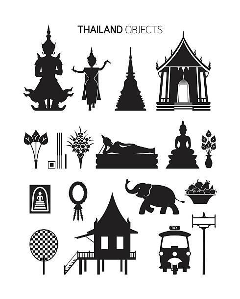 tajlandia kultury obiektów, sylwetka zestaw - tajlandia stock illustrations