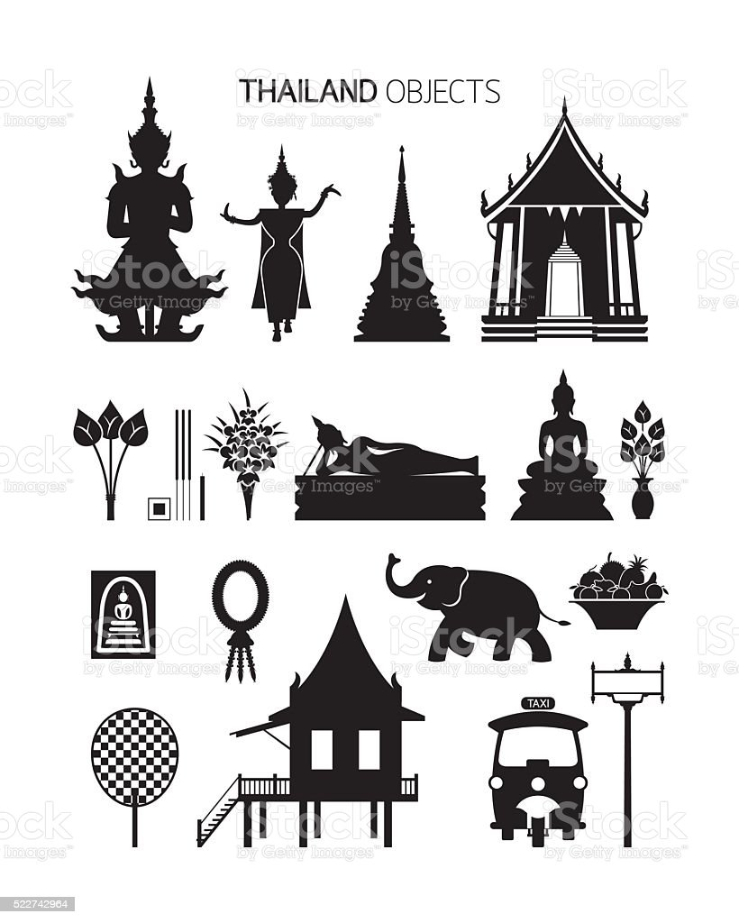 Thailand Culture Objects, Silhouette Set vector art illustration