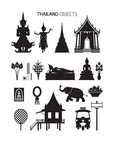 태국 문화 물체 실루엣 설정 0명에 대한 스톡 벡터 아트 및 기타 이미지