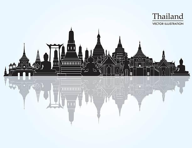 tajlandia szczegółowe panoramę miasta. ilustracja wektorowa - tajlandia stock illustrations