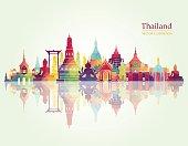 Thailand detailed skyline. Vector illustration
