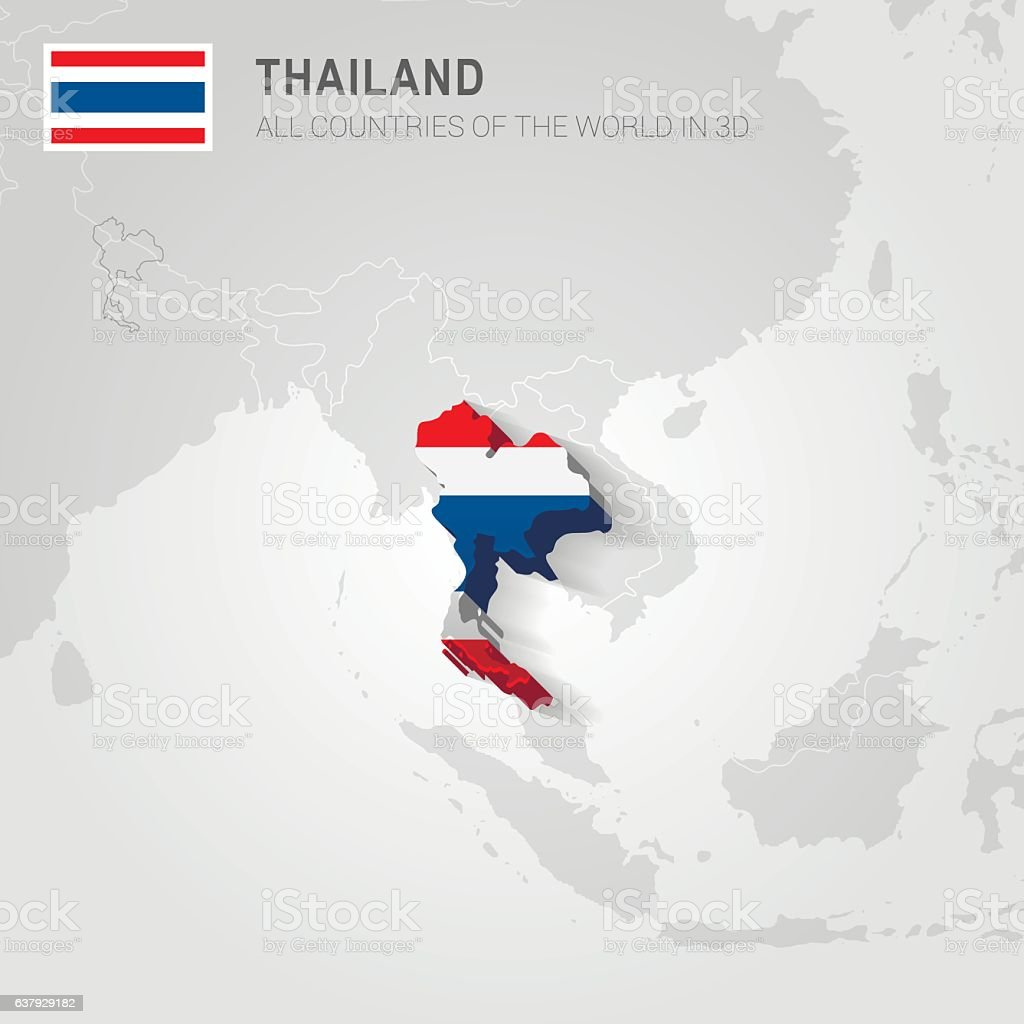 Thailand drawn on gray map. – Vektorgrafik