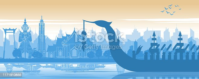 Thailand famous landmark in scenery design and royal Thai boat silhouette design in blue and orange yellow color,vector illustration