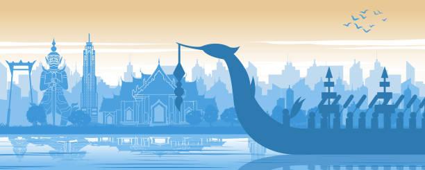 stockillustraties, clipart, cartoons en iconen met thailand beroemde oriëntatiepunt in landschap ontwerp en royal thai boot silhouet ontwerp in blauw en oranje geel kleur - thailand
