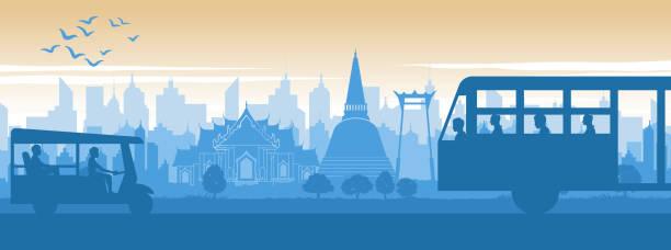 tajlandia słynny punkt orientacyjny w scenerii stylu życia projektowania z niebieskim i pomarańczowym żółtym kolorze w projektowaniu sylwetki - tajlandia stock illustrations