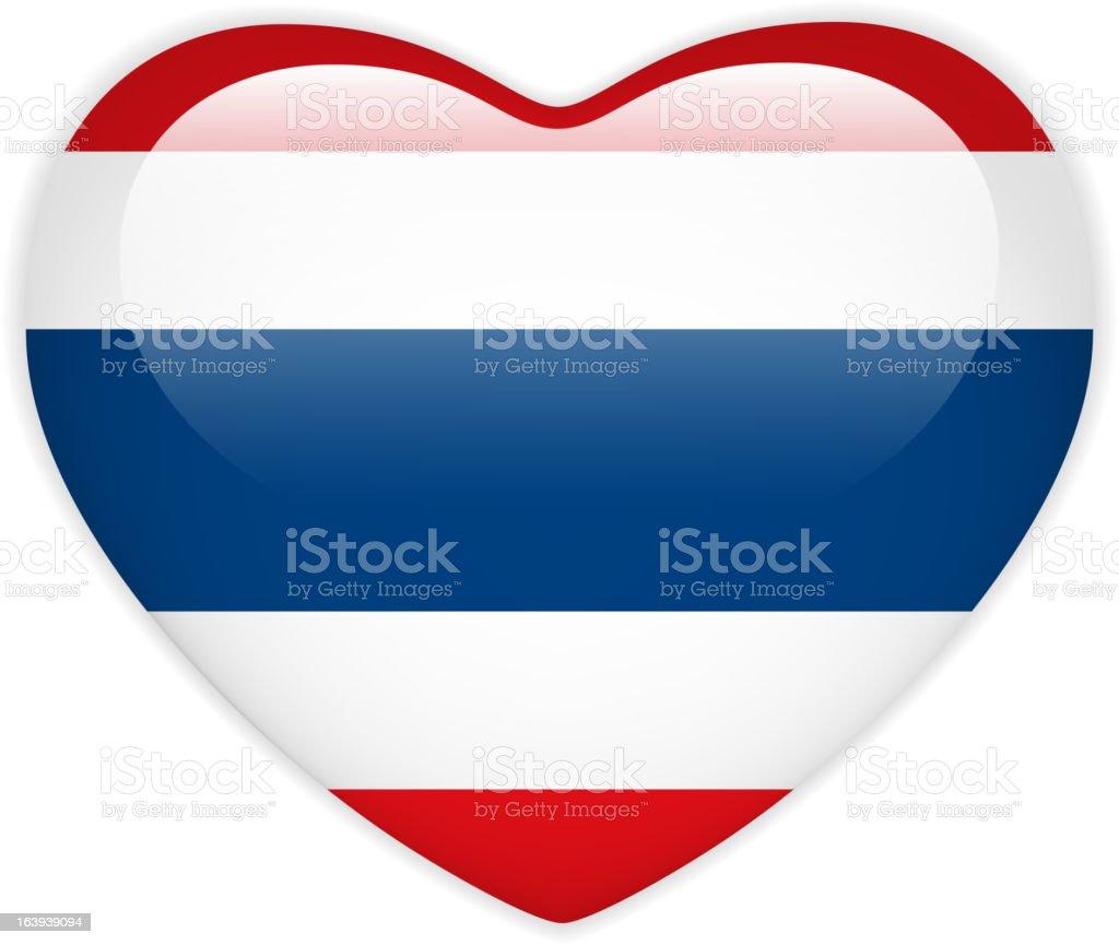 Tailandia bandera corazón brillante botón - ilustración de arte vectorial