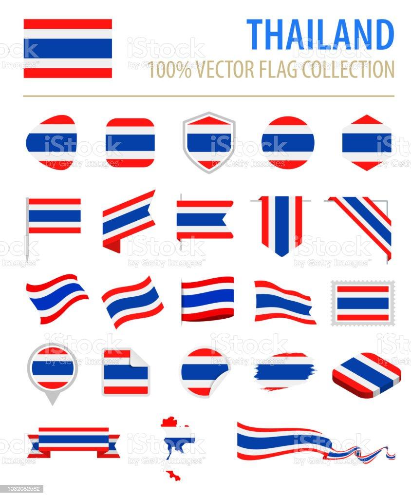 タイ - フラグ アイコン フラット ベクトルを設定 ベクターアートイラスト