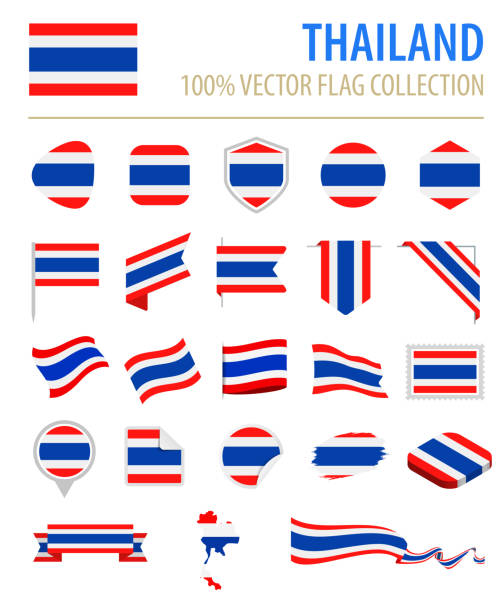 thailand - flag icon flat vector set - thai flag stock illustrations, clip art, cartoons, & icons
