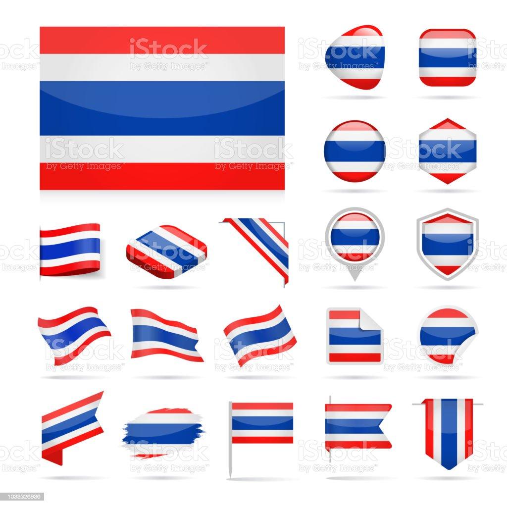 タイ - フラグのアイコン光沢のあるベクトルを設定 ベクターアートイラスト