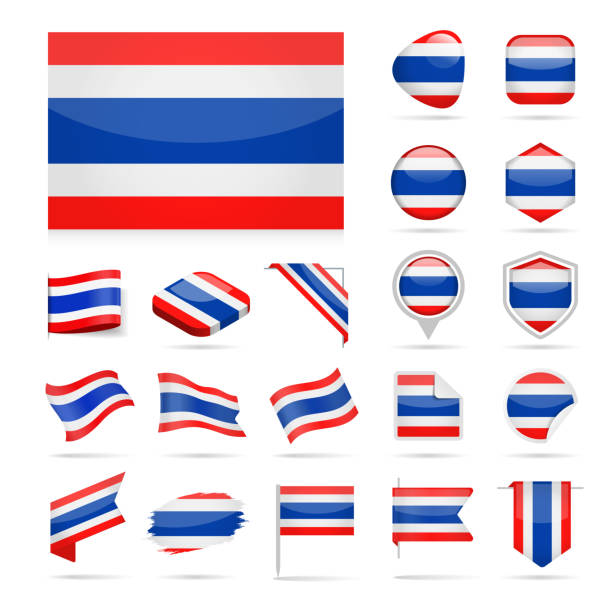 thailand - flag icon glossy vector set - thai flag stock illustrations, clip art, cartoons, & icons