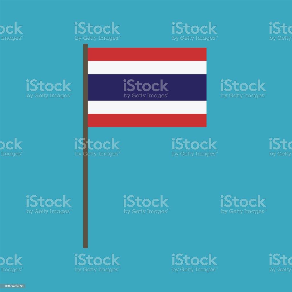 フラットなデザインのタイ旗のアイコン ベクターアートイラスト