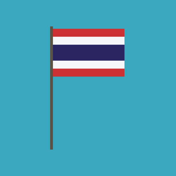 thailand flag icon in flat design - thai flag stock illustrations, clip art, cartoons, & icons