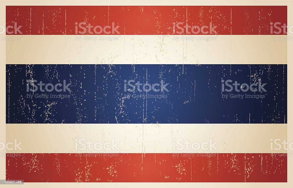 Thailand flag in grunge and vintage style. royalty-free stock vector art