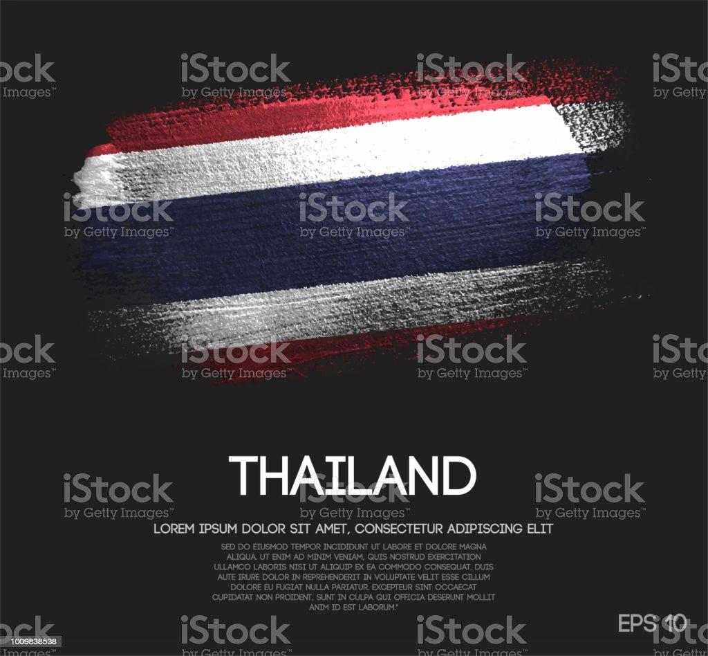 キラキラ輝きブラシ ペイント ベクトルのタイの国旗 ベクターアートイラスト
